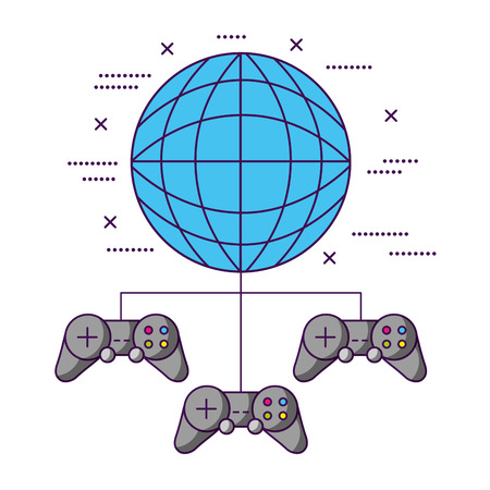 world controls video game white background vector illustration 일러스트