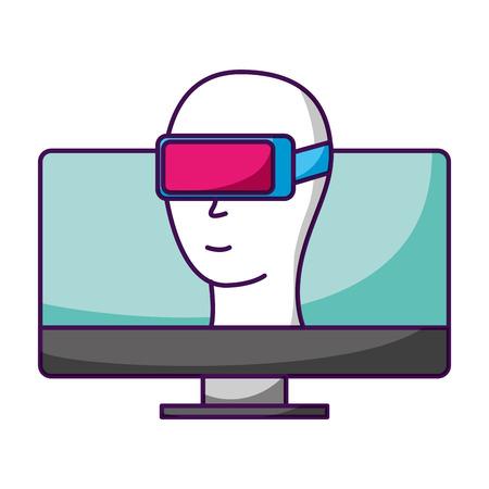 computer avatar vr glasses video game vector illustration