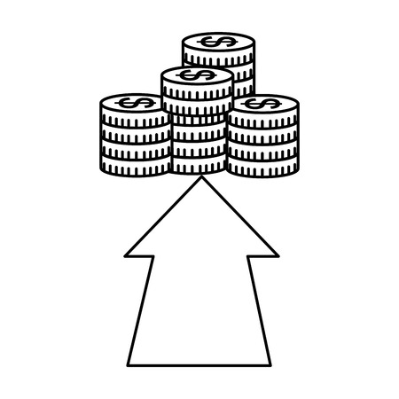 business money growth stacked coins vector illustration