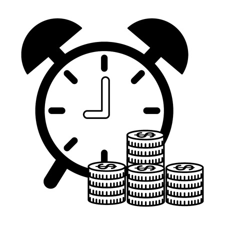 business money growth coins clock vector illustration