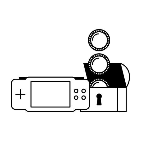 gamepad borst munten video game witte achtergrond vector illustratie