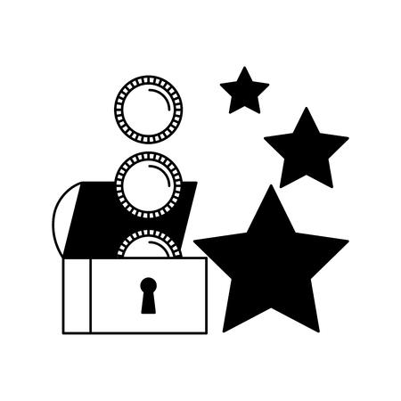 chest coins stars video game white background vector illustration Ilustrace