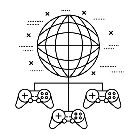 world controls video game white background vector illustration Illustration
