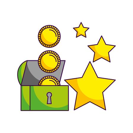 chest coins stars video game white background vector illustration Illustration