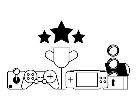 control joystick trophy game pad video game vector illustration