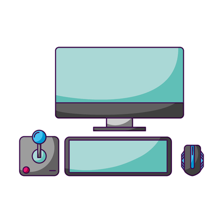 computer keyboard and mouse joystick video game vector illustration
