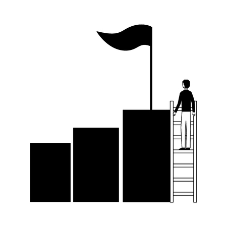 businessman climbing stair chart bar flag success vector illustration
