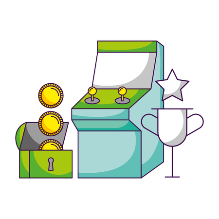 arcade chest trophy video game white background vector illustration
