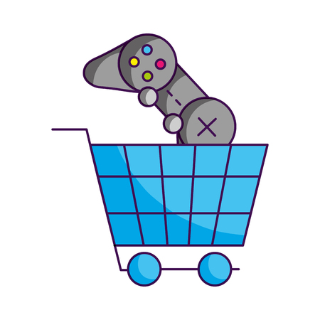 shopping cart control video game white background vector illustration