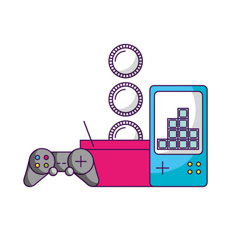 control gamepad shopping basket coins video game vector illustration