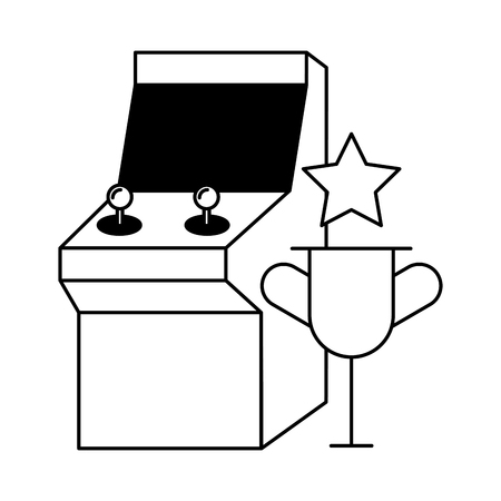 arcade trophy star video game white background vector illustration
