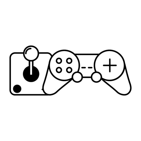 control joystick video game white background vector illustration