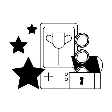 gamepad chest coins stars video game vector illustration