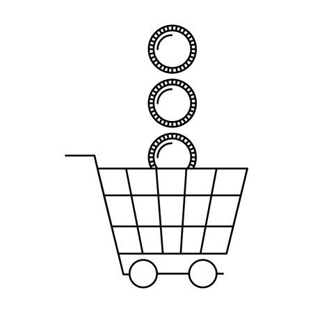 shopping cart coins money white background vector illustration