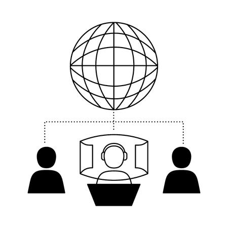 vr avatar 3d world video game vector illustration Illustration
