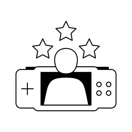 avatar gamepad stars video game white background vector illustration