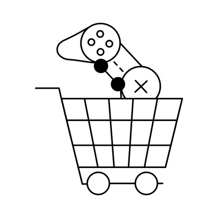 shopping cart control video game white background vector illustration Stock fotó - 126463993