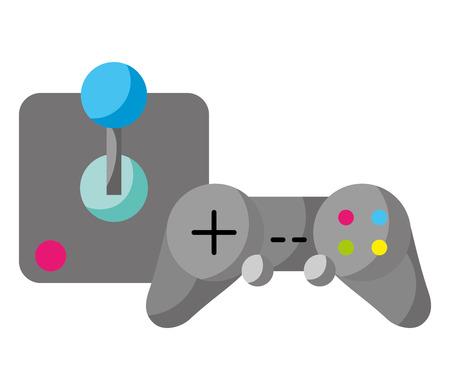 control joystick video game white background vector illustration