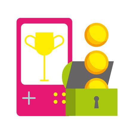 gamepad borst munten video game witte achtergrond vector illustratie Vector Illustratie