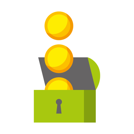 chest coins video game white background vector illustration