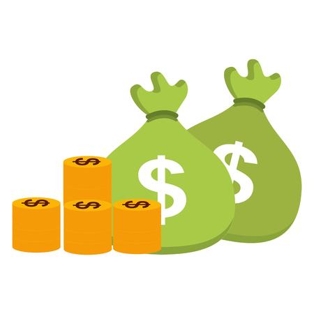 bank money bag pile coins vector illustration Vectores