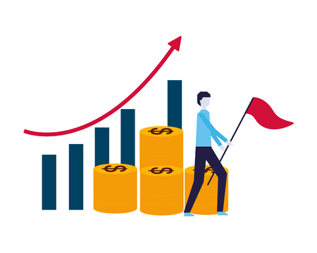 businessman flag chart and pile coins money vector illustration