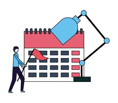 businessman with flag calendar and lamp vector illustration