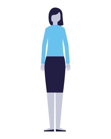 personnage de femme sur fond blanc vector illustration Vecteurs