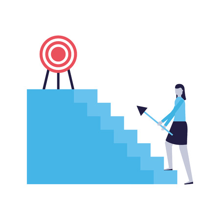 business woman climb stairs with arrow target vector illustration