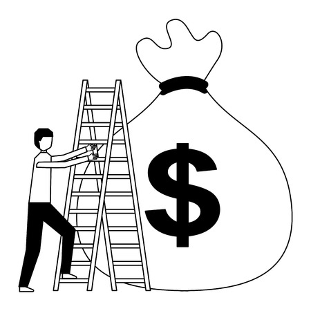 businessman climbing stairs and money bag vector illustration