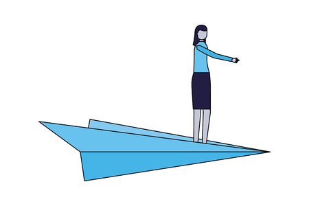 business woman standing on paper plane vector illustration