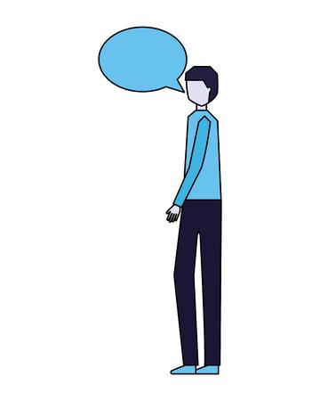 man speech bubble talk white background vector illustration