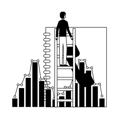 businessman climbing stairs report chart vector illustration