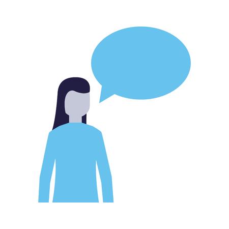 woman speech bubble talk white background vector illustration  イラスト・ベクター素材
