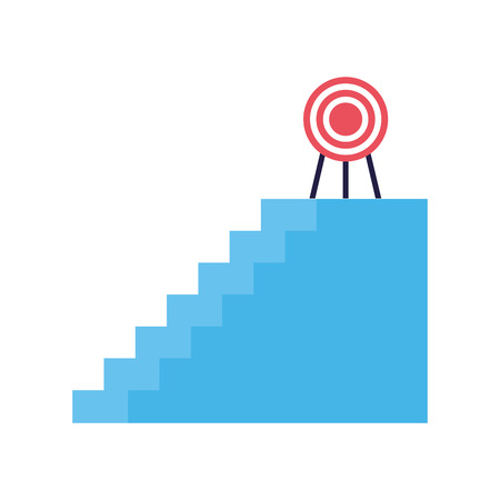 business stairs target on top vector illustration