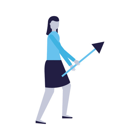 business woman holding arrow white background vector illustration 向量圖像