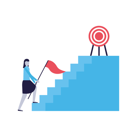 business woman stairs flag and target vector illustration