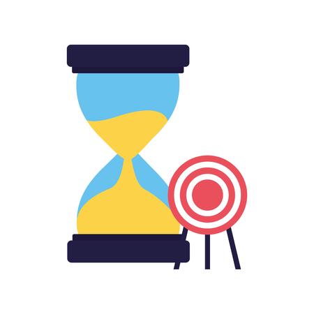 business hourglass target startup white background vector illustration Vektorové ilustrace