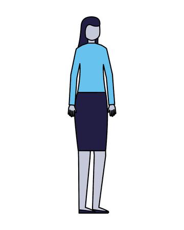 Frauencharakter auf weißer Hintergrundvektorillustration Vektorgrafik