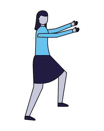 personnage de femme sur fond blanc vector illustration