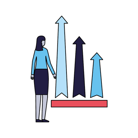 business woman financial arrows growth vector illustration