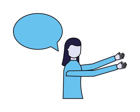 woman speech bubble talk white background vector illustration Ilustrace