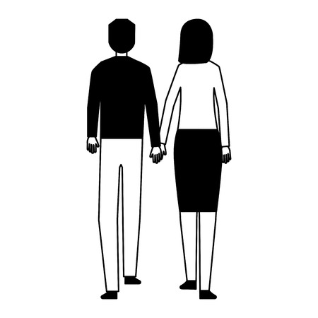 man and woman holding hands walking back view vector illustration Stock Vector - 114639385
