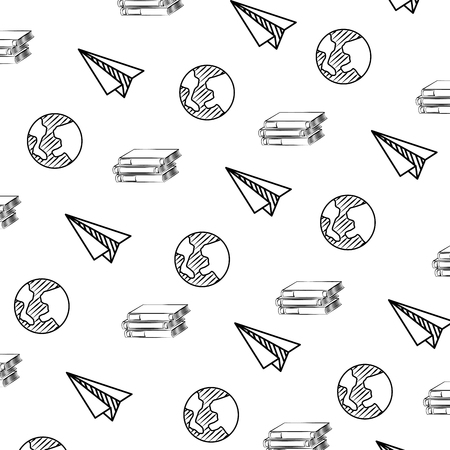 planet books and paper plane decoration sketch background vector illustration