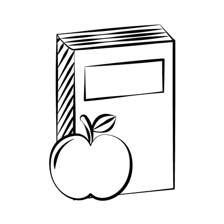 book and apple back to school sketch vector illustration