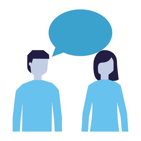 man and woman talking speech bubble vector illustration 向量圖像