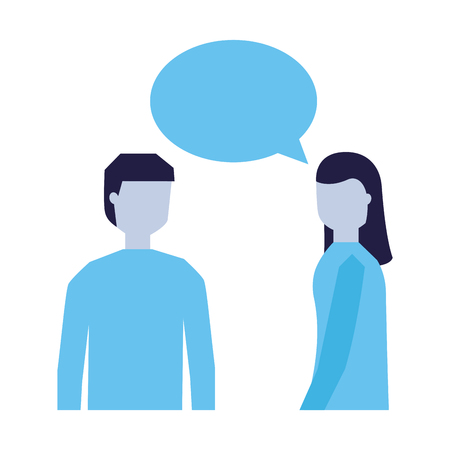 man and woman talking speech bubble vector illustration Illusztráció