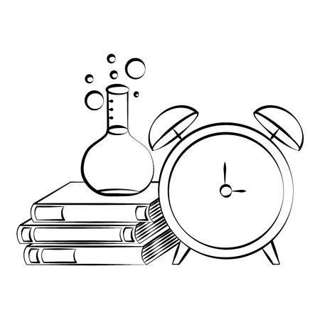 test tube alarm clock books back to school sketch vector illustration
