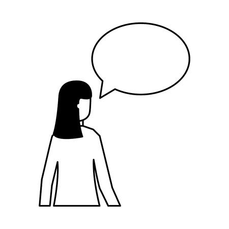 woman speech bubble talk white background vector illustration Stock Illustratie