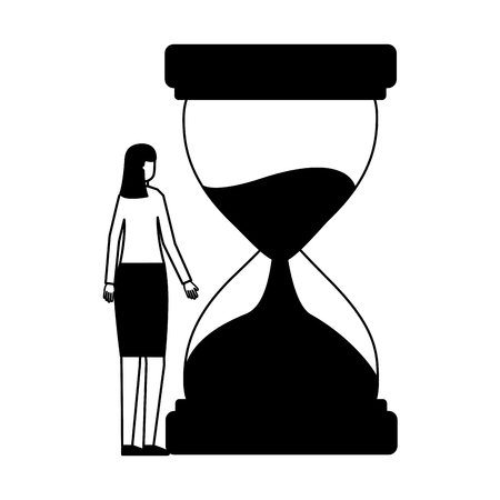 business woman hourglass time white background vector illustration